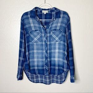 Cloth & Stone Plaid Washed Blue Button Down K